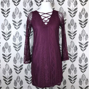Burgundy Bell Sleeve Lace Shift Dress